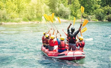 Umbria, river rafting adventure with final tasting